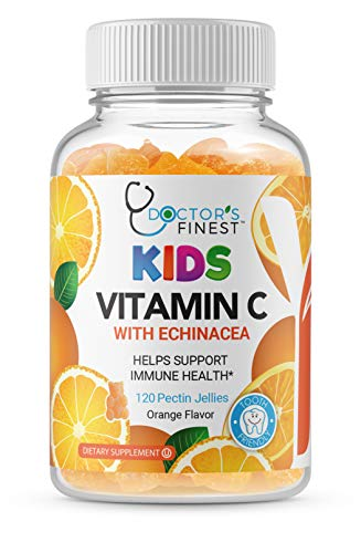 Doctors Finest Vitamin C w/ECHINACEA Gummies for Kids – Vegan, GMO-Free & Gluten Free – Great Tasting Orange Flavor Pectin Chews – Kids Dietary Supplement – 120 Count [60 Day Supply]