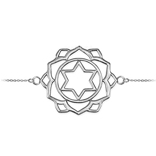 14K White Gold Anahata Love Chakra Yoga Bracelet by Hindu Jewelry by LABLINGZ