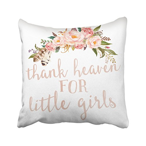 Emvency Decorative Throw Pillow Cover Square Size 20x20 Inches Boho Thank Heaven For Little Girls Nursery Pillowcase With Hidden Zipper Decor Cushion Gift For Home Sofa Bedroom Couch Car