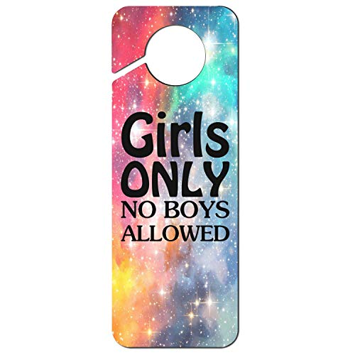 sth fun. White Graphics and More Stop Do Not Disturb Sign Plastic Door Knob Hanger Sign Girls Only No Boys Allowed ()