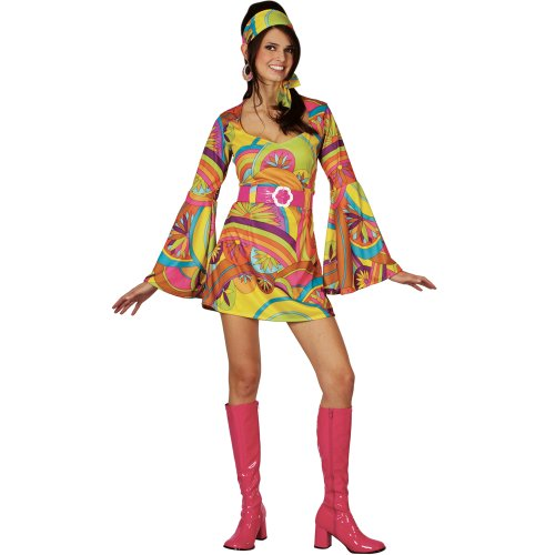 60s Go Go Dress (RETRO GO GO GIRL 60S/70S FANCY DRESS ADULT DISCO COSTUME ALL SIZES)