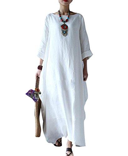 Yesno JD1 Women Long Dress Arab Kaftan 100% Linen Casual Loose Fit...