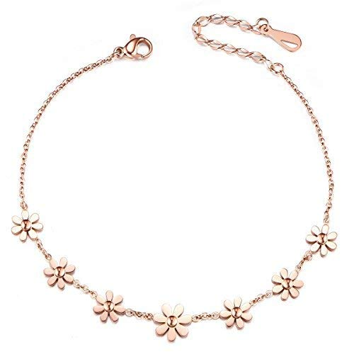 SHEGRACE Woman Stainless Steel Daisy Flowers Anklet Rose Gold Adjustable 200mm Jewellery Gift (Rose Gold)