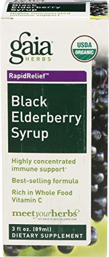 Gaia Herbs, Black Elderberry Syrup Organic, 3 Fl Oz