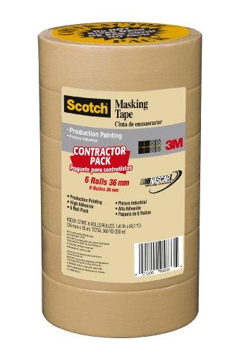 Scotch Contractor Grade Masking Tape, 1.41 inch x 60.1 yard, 2020, 6 ()