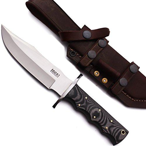 (GCS Custom Handmade Black & White Micarta Handle D2 Tool Steel Skinner Bushcraft Knife Buffalo Hide Sheath GCS103)