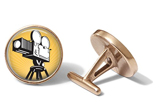 Vintage Movie Camera Cufflinks Hollywood Film Cuff Links (Solid Bronze) (Vintage Cufflinks Solid)