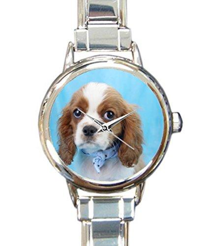 (Coolstuffs Cavalier King Charles Spaniel Women Watches Italian Charm Watch Strap Quartz Sliver Wristwatch)