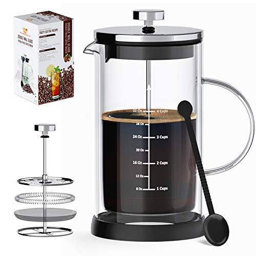 MIOMIO [Marble] French Press Coffee Maker, 1 Liter, 34oz Heat Resistant Borosilicate Glass_4 level Filtration System, No…