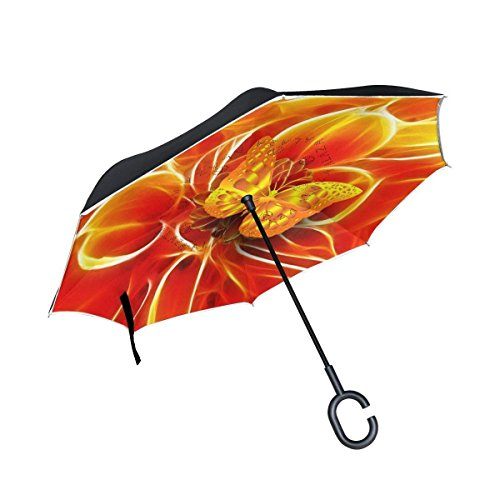 Ladninag Inverted Reverse Umbrella Flower Butterfly Windproof for Car Rain Outdoor