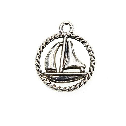 Monrocco 40 pcs Sailboat Charm Pendant for DIY Jewelry Making 18x15mm ()