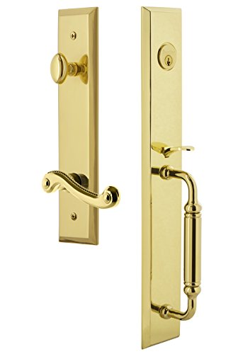 Grandeur 843257 Hardware Fifth Avenue One-Piece Handleset with C Grip and Newport Lever Size, Single Cylinder Lock-2.375