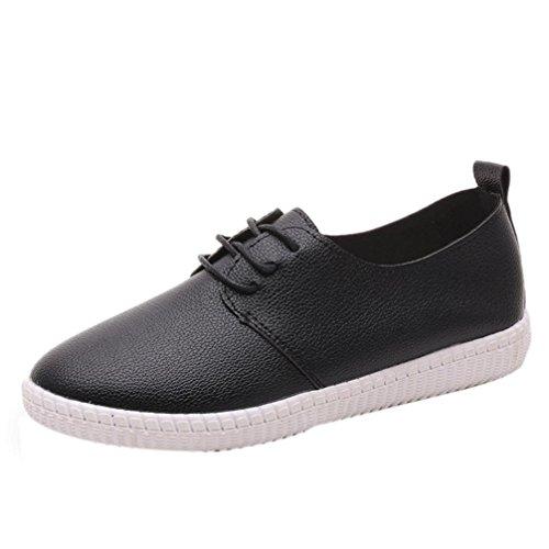 Amiley Dames Flats Lederen Slip Op Comfortschoenen Lace-up Platte Schoenen Loafers Zwart