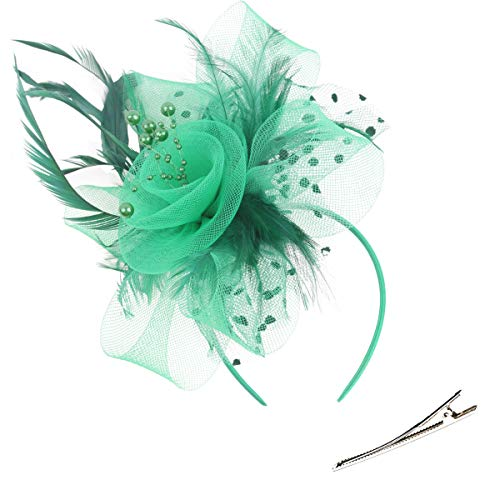 - Fascinators Hat for Women Tea Party Hat Satin Feather Mesh Wedding Headband Kentucky Derby Headpieces for ST Patricks Green