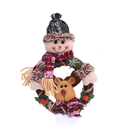 Ximandi Christmas Snowman Santa Elk Wreath for Xmas Party Door Wall Hanging Garland Doll Decoration (Green)