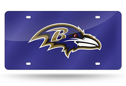 Baltimore Ravens License Plate - Rico Industries NFL Baltimore Ravens Laser Inlaid Metal License Plate Tag, Purple, 6
