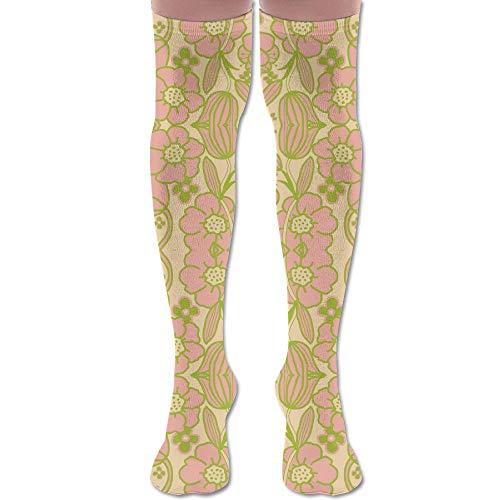 HFJDLSK Knee Long Socks Tube Thigh-High Sock Stockings - Big Mod Floral 12 Inch Pink Green Fabric (1913) Print for Girls & Womens (1913 Print)