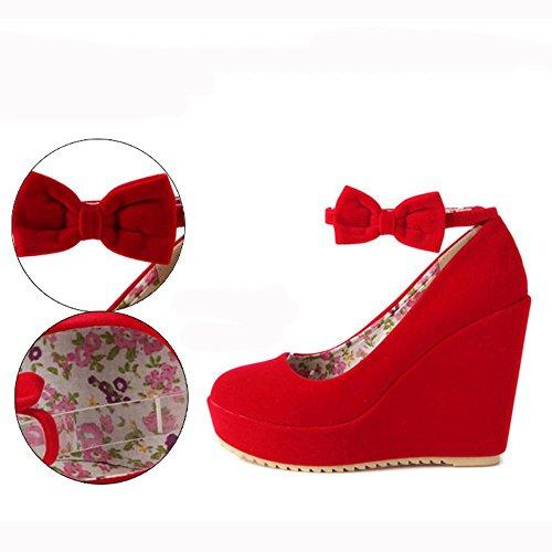 GJDE Moda Mujer Verano con Sandalias Moda con los Zapatos Mate Lazo de Terciopelo Red