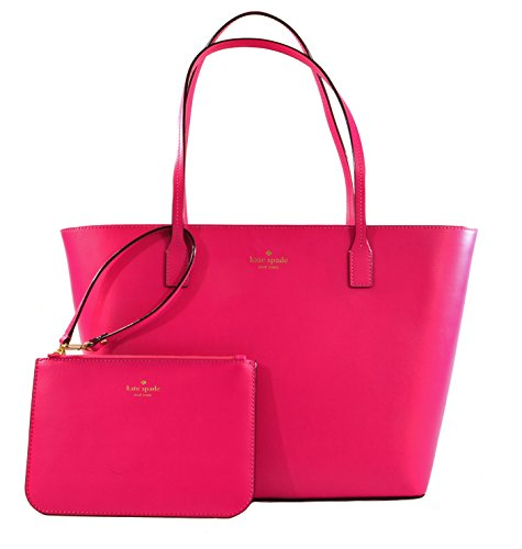 Kate Spade Bennet Place Small Harmony Smooth Leather Tote Shoulder Bag Purse Handbag with Matching Wristlet Pouch (Radish) by Kate Spade New York