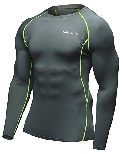 Baleaf Men's Cool Dry Skin Fit Long Sleeve Compression Shirt Grey Size M - Layer Tech Compression Shirt