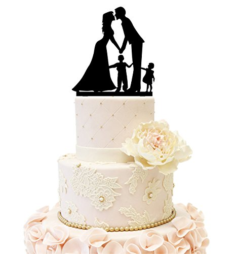 Wedding Anniversary Cake Topper couple with 2 kids (Boy and Girl (Black)) by Uniquemystyle