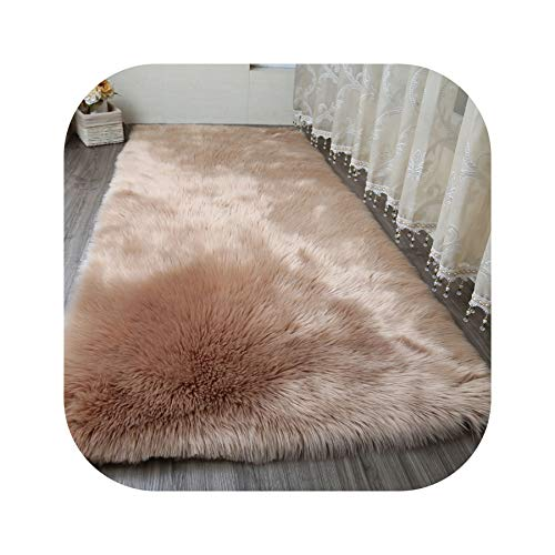 Carpets New Sheepskin Plain Fur Skin Fluffy Bedroom Faux Mats Washable Artificial Textile Area Square Rugs,Coffee,90X110