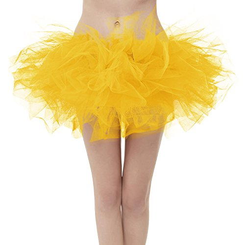 Girstunm Women's Classic Layers Fluffy Costume Tulle Bubble Skirt Golden-Plus Size