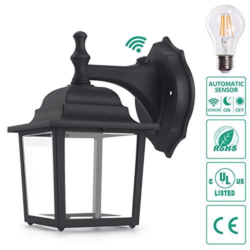 Anti Shock Light - Sensor Outdoor Wall Lanterns, Lamomo Wall Sconce Porch Light Fixture with E26 6W Light Bulb, UL Listed Anti-Rust Waterproof Black Lamp Exterior Wall Light Fixtures for Garden, Hallway, Court-Yard