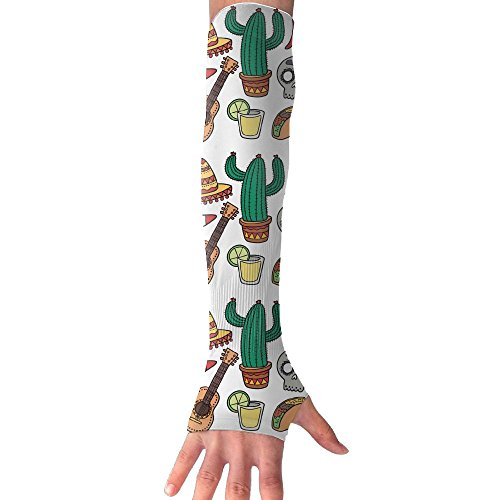 Colorful Mexico Skull Cactus Taco Cooling Arm Sleeves Unisex Sun Block UV Protection International Fashion (Quilling Quilt Blocks)