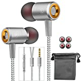 Earphones,in-Ear Earbuds Headphones Wired Headphone Metal Noise Cancelling Stereo Heave Bass with Mic and Remote for Phones,Samsung Galaxy,MP3 Players and All 3.5mm Music Device (Silver)