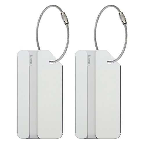 Steel Tags Luggage Stainless (ONUPGO 2 Pack Metal Luggage Tags Travel Suitcase Luggage ID Identifier Tags Aluminum Alloy Tags, Great Gift for Parents, Children, Husband/Wife, Friends and Traveler)