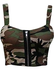 Girls Walk Women's Army Camouflage Print Padded Zip Front Bralet Crop Bra Top