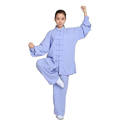 ZooBoo Unisex Womens Linen Kung Fu Tai Chi Uniform Martial Arts Wear (Sky Blue, S)