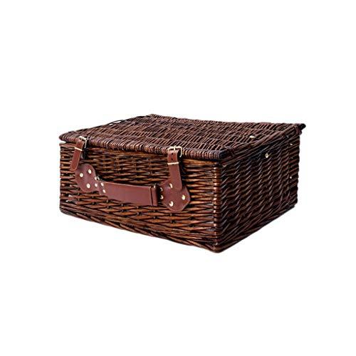 Willow-Woven Storage Box Storage Box Hand-Woven Clothes with Lid Storage Box Storage Box Outdoor Picnic Box (Color : C)
