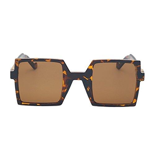 De De Piazza Fondo Telón Unas Mujeres La Azul Gafas Anteojos Sol Negro Enormes Mujer Brown Uv400 De De Leopard Gran TIANLIANG04 07dtqzw8nw