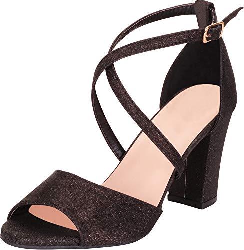 Cambridge Select Women's Open Toe Crisscross Strappy Chunky Block Mid Heel Sandal,9 B(M) US,Black Glitter