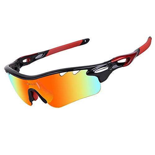 Polarized Sports Sunglasses with 5 Interchangeable Lenses for Men Women Cycling Baseball Running Fishing Driving Golf Glasses Tr90 Unbreakable Frame (black, - Have Do Glass Bans All Lenses Ray