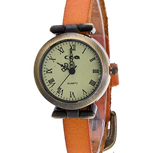Noopvan Fashion Women Quartz Analog Watches Roman Numeral Analog Retro Thin Leather Band and Stainless Steel Dial Wristwatch (Orange)