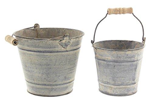Park Hill Set of 2 Bucket Planters Galvanized Metal Distressed Finish, 6