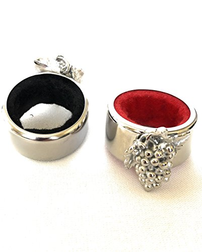 ToeToNose Pack of 2 Kitchen Stainless Steel Wine Bottle Collars, Durable and Plated Wine Drip Ring Grapes,(Black and Red interior) by ToeToNose (Image #2)