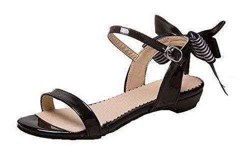 Talon Femme Boucle Bas Unie TSFLH008030 Sandales Couleur AalarDom Ouverture d'orteil à Noir XwcHq