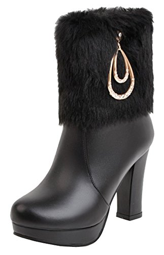 Heels High Ankle Booties Black SHOWHOW Fur Metal Chunky Snow Rhinestones Fluffy Women's Ywq8zB