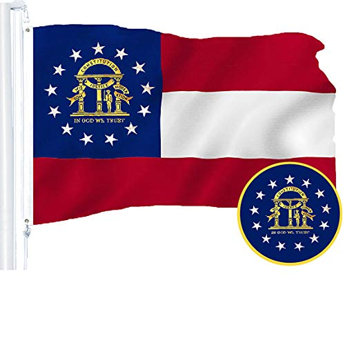 State Flag Georgia - G128 – Georgia State Flag | 3x5 feet | Embroidered 210D – Indoor/Outdoor, Vibrant Colors, Brass Grommets, Quality Polyester