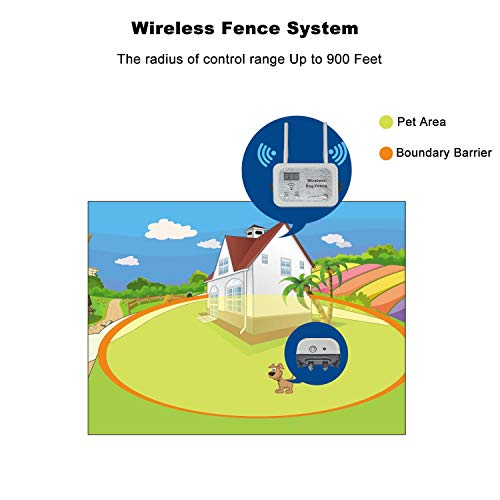 JUSTPET Wireless Dog Fence Pet Containment System, Safe Effective Anti Over Shock Collar, Adjustable Control Range 900 Feet & Display Distance, Rechargeable Waterproof Collar Receiver (2 Dog System) by JUSTPET (Image #1)