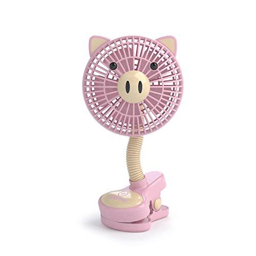 LIVION Fanimal Clip-On Stroller Fan 5'' - USB/Battery Powered Baby/Mini Desk Fan with Assorted Animal Designs (PIGGY) by LIVION