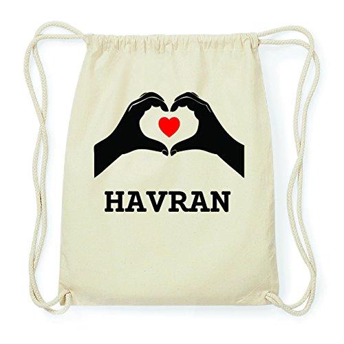 JOllify HAVRAN Hipster Turnbeutel Tasche Rucksack aus Baumwolle - Farbe: natur Design: Hände Herz