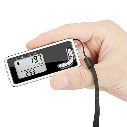 Pedometer, 3D Pedometer with Backlight Monitor and Neck Lanyard, Portable Sport Pedometer Digital Step Counter Fitness Activity Tracker Calorie Counter for Walking jogging Running by Bereezy