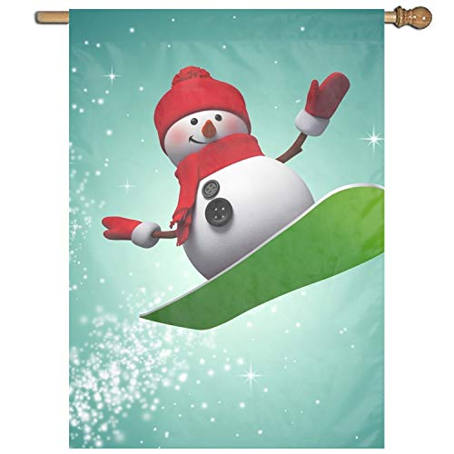 (XIAOTT Surfing Snowman Garden Printed Flag One-Sided Home Flag Weather Resistant Durable)