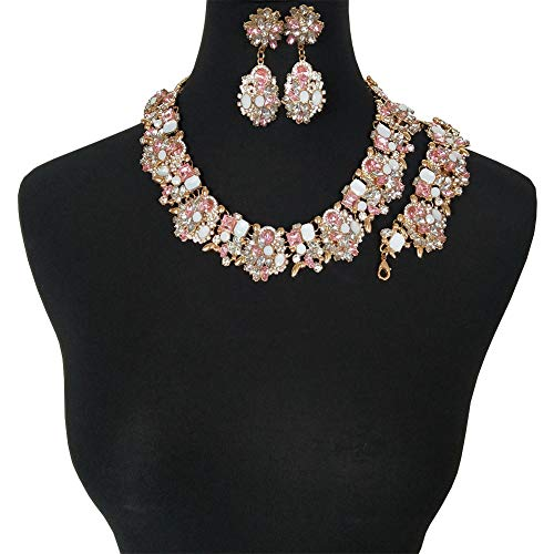 NABROJ Pink Drag Queen Jewelry Set, Vintage Statement Necklace Bracelet Earrings with Pink Gems Costume Jewelry for Women 1 Set with Gift Box-HLN001 Pink 3pcs -