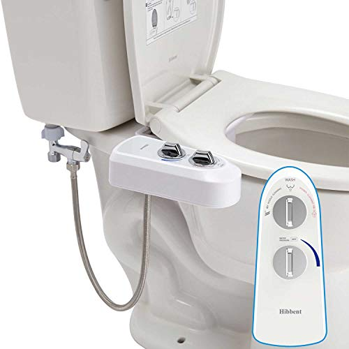 Hibbent Bidet Attachment Self Clean Dual Nozzles - Adjustable Fresh Water Spray Non-Electric Mechanical Bidet Toilet Seat Attachment - With ON/OFF Metal T Adapter and Hose